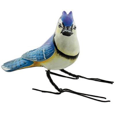 Ceramic figurine, 'Blue Jay' - Hand Painted Blue Jay Ceramic Bird Figurine from Guatemala