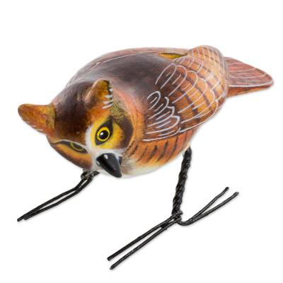 Ceramic figurine, 'Great Horned Owl' - Hand Sculpted, Painted Ceramic Great Horned Owl Figurine
