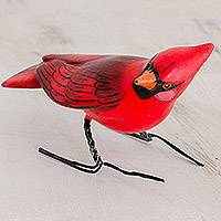 Ceramic figurine, 'Cardinal' - Hand Sculpted, Hand Painted Ceramic Cardinal Figurine