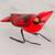 Ceramic figurine, 'Cardinal' - Hand Sculpted, Hand Painted Ceramic Cardinal Figurine (image 2) thumbail