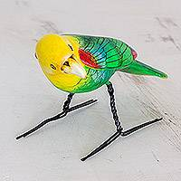 Ceramic figurine, 'Yellow-Headed Parrot' - Hand Sculpted Ceramic Yellow Headed Parrot Figurine