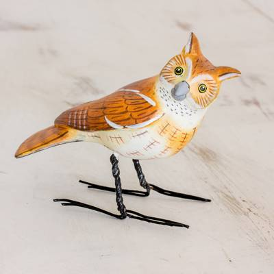 Ceramic figurine, 'Eastern Screech Owl' - Hand Sculpted, Painted Ceramic Eastern Screech Owl Figurine