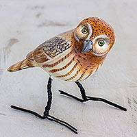 Ceramic figurine, 'Elf Owl' - Artisan Crafted Elf Owl Ceramic Bird Figurine from Guatemala