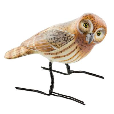 Ceramic figurine, 'Elf Owl' - Artisan Crafted Elf Owl Ceramic Bird Figurine from Guatemala