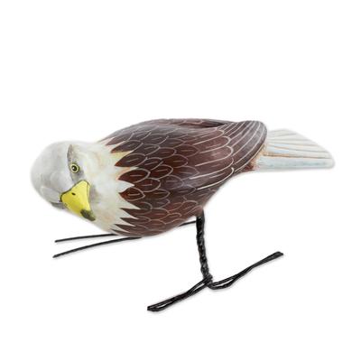 Ceramic figurine, 'Inquisitive Bald Eagle' - Hand Sculpted, Hand Painted Ceramic Bald Eagle Figurine