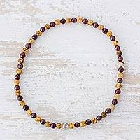 Jasper and garnet beaded stretch anklet, 'Gleaming Watcher' - Jasper and Garnet Beaded Eye Anklet from Guatemala