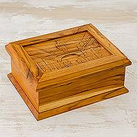 Wood decorative box, 'Saint Catalina Arch' - Hand Carved Palo Blanco Wood Decorative Box from Guatemala