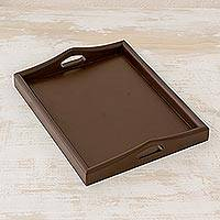 Wood tray, 'Innovation in Espresso' - Hand Crafted Wood Tray with Dark Brown Finish