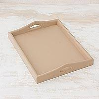 Wood tray, 'Innovation in Taupe' - Handmade Serving Tray Crafted from Cedarwood