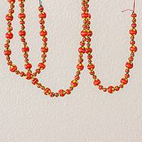 Ceramic beaded garland, 'Holiday Flowers in Red' - Painted Ceramic Holiday Garland in Red from Guatemala