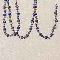 Ceramic beaded garland, 'Holiday Flowers in Blue' - Painted Ceramic Holiday Garland in Blue from Guatemala