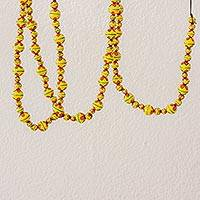 Ceramic beaded garland, 'Holiday Flowers in Yellow' - Painted Ceramic Holiday Garland in Yellow from Guatemala