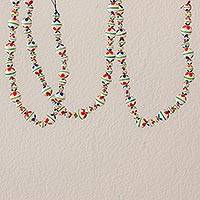 Ceramic beaded garland, 'Holiday Flowers in White' - Painted Ceramic Holiday Garland in White from Guatemala