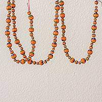 Ceramic holiday garland, 'Holiday Flowers in Orange' - Painted Ceramic Holiday Garland in Orange from Guatemala