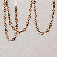 Ceramic beaded garland, 'Floral Holiday' - Floral Ceramic Holiday Garland in Brown from Guatemala