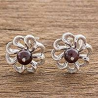 Garnet stud earrings, 'Spiral Flowers' - Floral Garnet and Silver Stud Earrings from Guatemala