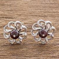 Garnet stud earrings, 'Spiral Flowers' - Floral Garnet and Silver Stud Earrings from Guatemala