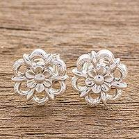 Sterling silver stud earrings, 'Resplendent Flowers' - Floral Sterling Silver Stud Earrings from Guatemala