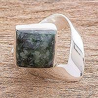 Jade cocktail ring, 'Green Mountain' - Square Green Jade Cocktail Ring from Guatemala