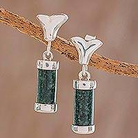 Jade dangle earrings, 'Geometric Silhouettes' - Cylindrical Dark Green Jade Dangle Earrings from Guatemala