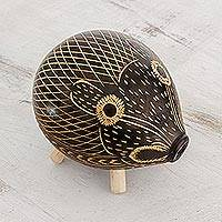Gourd home accent, 'Armadillo Friend' - Black and Natural Calabash Armadillo Home Decor