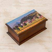 Cedar wood decorative box, 'San Cristóbal' - Cedar Wood Box with Painting of San Cristóbal from Guatemala
