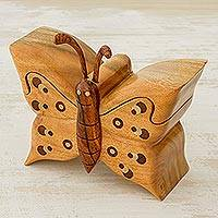 Wood puzzle box, 'Flutterby' - Hand Crafted Wood Puzzle Box with Butterfly Motif