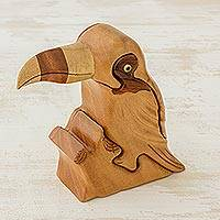 Mahogany wood puzzle box, 'Toucan' - Hand Carved Mahogany Toucan Decorative Puzzle Box
