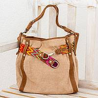 Leather accent cotton tote, 'Ixcaco Colors' - Leather Accent Cotton Tote Handwoven in Guatemala