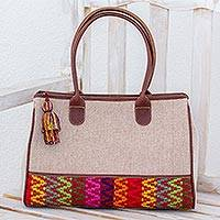 Leather accent cotton handbag, 'Ixcaco Beauty' - Leather Accent Cotton Handbag from Guatemala