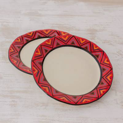 Ceramic luncheon plates, 'Tazumal' (pair) - Artisan Crafted Maya Style Luncheon Plates (Pair)
