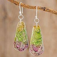 Recycled CD dangle earrings, 'Spring Renewed' - Recycled CD Dangle Earrings from Guatemala