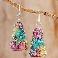 Recycled CD dangle earrings, 'Color Explosion' - Yellow Turquoise and Purple Recycled CD Dangle Earrings