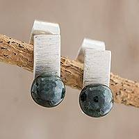 Jade stud earrings, 'Shimmering Bars' - Dark Green Jade Stud Earrings from Guatemala