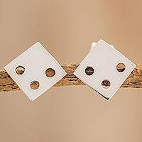 Sterling silver stud earrings, 'Luck of the Dice' - Square Sterling Silver Stud Earrings from Guatemala