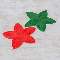 Recycled paper trivets, 'Stellar Beauty' (pair) - Two Green and Red Recycled Paper Trivets from Guatemala
