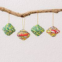Recycled paper ornaments, 'Traditional Baubles' (set of 4) - Four Handcrafted Recycled Paper Ornaments from Guatemala