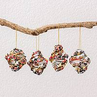 Recycled paper ornaments, 'Spirals of Love' (set of 4) - Set of Four Recycled Paper Ornaments from Guatemala