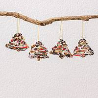 Recycled paper ornaments, 'Bells of Christmas' (set of 4) - Four Recycled Paper Bell Ornaments from Guatemala