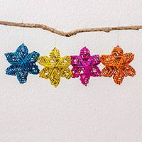 Recycled paper ornaments, 'Vibrant Stars' (set of 4) - Four Colorful Recycled Paper Star Ornaments from Guatemala