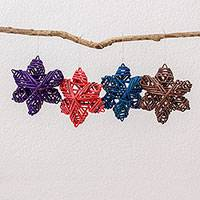 Recycled paper ornaments, 'Lovely Stars' (set of 4) - Four Recycled Paper Star Ornaments from Guatemala