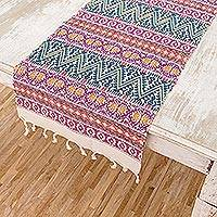 Cotton table runner, 'Tradition in Pink' - Handwoven Cotton Table Runner in Pink from Guatemala