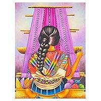 'Chichi Weaver' - Signed Painting of a Weaver Woman from Guatemala