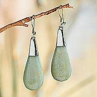 Jade dangle earrings, 'Subtle Dewdrops' - Pale Green Jade and Sterling Silver Teardrop Dangle Earrings