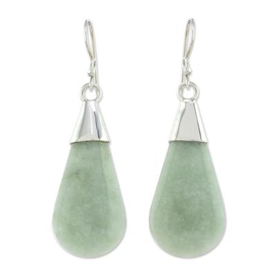 Jade dangle earrings, 'Subtle Dewdrops' - Pale Green Jade and Sterling Silver Teardrop Dangle Earrings