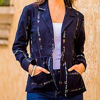 Cotton blazer, 'Mountain Fashion' - Woven Blue Cotton Blazer with Multicolor Accents