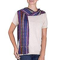 Rayon scarf, 'Summer Fireworks' - Guatemalan Loom Woven Rayon Multicolored Striped Scarf