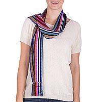 Rayon scarf, 'Small Town Celebration' - Colorful Striped Loom Woven Rayon Scarf from Guatemala