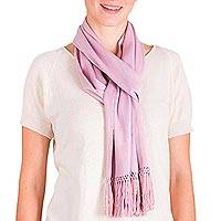 Rayon scarf, 'Sweet Lavender' - Loom Woven Lavender Rayon Scarf from Guatemala
