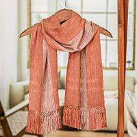 Rayon scarf, Coral Bands' - Guatemalan Handmade Rayon Scarf with Wide Stripes